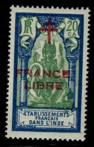 FRENCH INDIA  Scott 164 MH* France Libre  Brahma overprint
