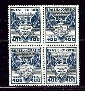 Brazil 451 MNH 1937 U.S. Cnstitution Anniv Block of 4