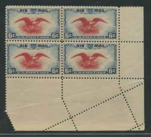 #C23 VAR. 6c AIRMAIL MAJOR FOLDOVER ERROR BLOCK BU8875
