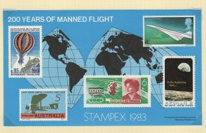 Great Britain Stamp Expo STAMPEX London 1983 Manned Flight Souvenir Sheet
