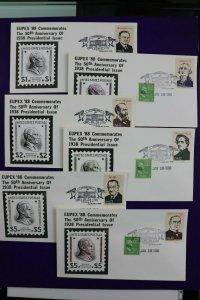 Eupex 1988 50th anniv 1938 US presidential issue 832 833 834 cachet show expo