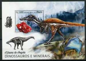 Angola 2018 MNH Dinosaurs & Minerals Austroraptor Rhodochrosite 1v M/S Stamps