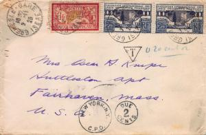 France, Scott #125, 223 pair, on 1926 Cover from Grenoble, France to Mass.