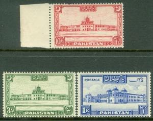 PAKISTAN : 1948-49. Stanley Gibbons #38a, 47, 50. Very Fine, Mint NH. Cat £60.00