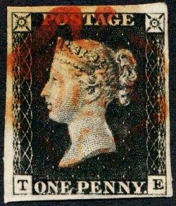 Great Britain Penny Black TE Four Margins