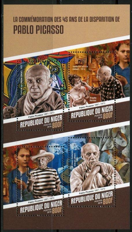 NIGER 2018 45th MEMORIAL ANNIVERSARY OF PABLO PICASSO SHEET  MINT NH