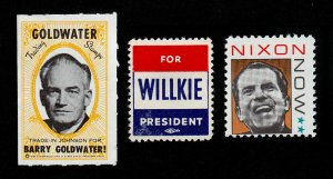 REKLAMEMARKE POSTER STAMPS ELECTIONS GOLDWATER, WILLKIE, NIXON