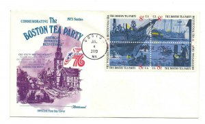 1480-83 Boston Tea Party American Revolution, Fleetwood, block of 4 FDC