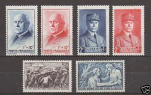 France Sc B112/152 MLH. 1941-43 issues, 2 cplt. sets