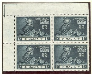 MALTA; 1949 early UPU issue fine Mint CORNER BLOCK of 1s. value