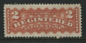 Canada 1875 Registered 2 cents rose carmine mint o.g.
