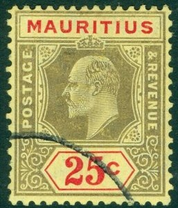 MAURITIUS SG190, 25c black & red/yellow, FINE USED. Cat £12.