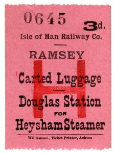 (I.B) Isle of Man Railway : Carted Luggage 3d (Heysham Steamer)