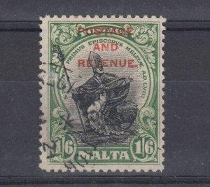 Malta 1928 1s 6d Postage Revenue SG187 Fine Used J6754