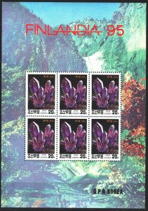 North Korea. 1995. Small sheet 3728. Minerals. MNH.