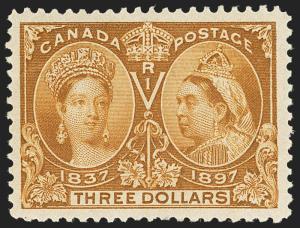 MOMEN: CANADA STAMPS #63 $3 JUBILEE MINT OG NH XF APS CERT