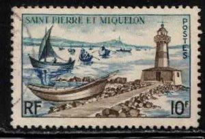ST PIERRE & MIQUELON Scott # 355 Used 1 - Lighthouse & Fishing Fleet