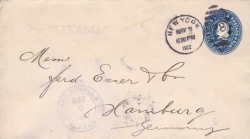 new york per lucania hamburg freihafen cancel  1902 cover  ref r14811