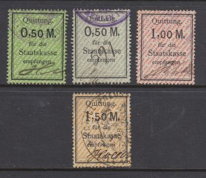 Germany, Prussia, 1920s Staatskasse Steuer Fee revenues, 4 different, sound