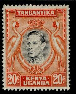KENYA UGANDA TANGANYIKA GVI SG139a, 20c black & orange, M MINT. Cat £55. PERF 14