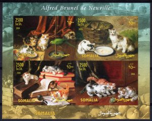 Somalia 2004 ALFRED BRUNEL de NEUVILLE Paintings with CATS Shlt (4) IMPERFORATE
