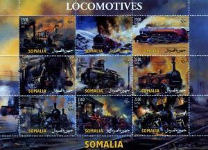 Somalia 2003 STEAM LOCOMOTIVE Sheet (9) Perforated Mint (NH)
