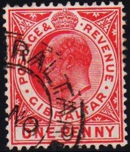 Gibraltar. 1907 1d S.G.67 Fine Used