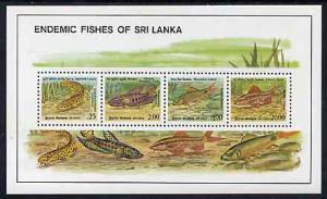Sri Lanka 1990 Endemic Fish of Sri Lanka m/sheet containi...