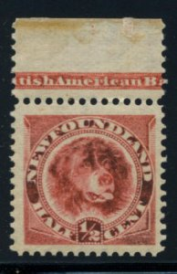 NEWFOUNDLAND: Sc.#57  **  ½¢ Orange Red, EXCEPTIONAL example showing IMPRIN...