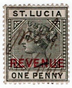 (I.B) St Lucia Revenue : Duty Stamp 1d