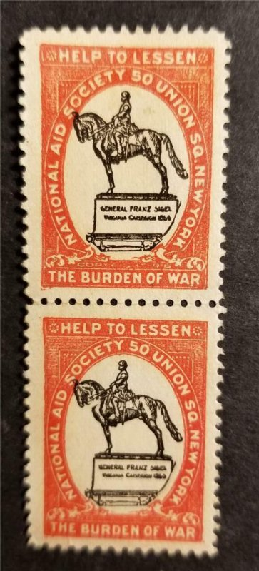 US OPC National Aid Society Help to Lessen the Burden of War Poster stamps G391