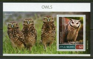 MALDIVES 2019  OWLS SOUVENIR SHEET   MINT NH