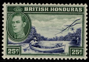 BRITISH HONDURAS GVI SG157, 25c blue & green, M MINT.