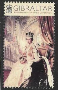 GIBRALTAR SG1805 2018 65th ANN OF THE CORONATION MNH
