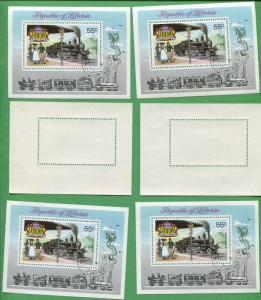 Lot of 10 - Liberia Souvenir Stamps C197 Cat Value $27 Swiss Historical Railways