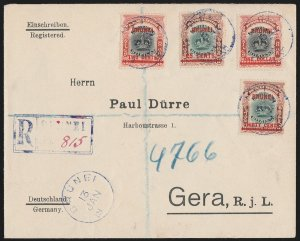 BRUNEI : 1908 Registered cover franked Labuan Crown. To Germany. Rare!!