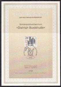 Germany, Scott cat. 1507. Composer D. Buxtehude Postal Bulletin. F.D.C. ^