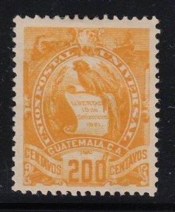 Guatemala 1886 200c Orange Yellow Quetzal M Mint. Scott 41