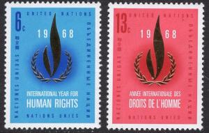 United Nations  New York  #190-191  1968  MNH  human rights flame