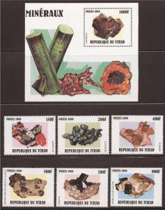 Chad - 2000 Minerals - 6 Stamp Set + Souvenir Sheet - 3B-254