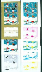 Denmark Christmas Seal 1991 Set Booklet Sheets Scale/Proof,Mnh. Imperforated.
