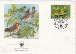 Cook Islands 1989 WWF Panda Official FDC Birds Picture & Stamps Cover Ref 29001