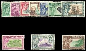 Pitcairn Islands 1940 KGVI set complete VFU. SG 1-8. Sc 1-8.