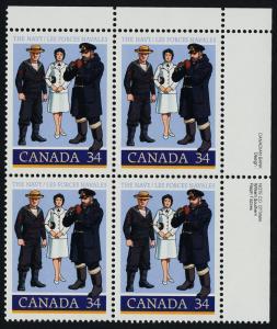 Canada 1075 TR Plate Block MNH Canadian Navy, Uniforms