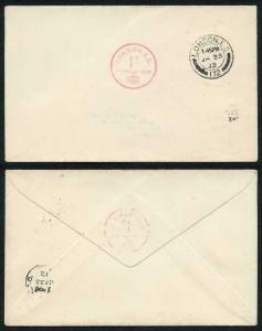25th January 1912 1d London Postage Paid Handstamp First Day Cover