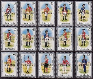 ST LUCIA 1985 Military Uniforms set complete MNH optd SPECIMEN.............36230