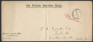 NEW ZEALAND 1905 OPSO cover, Registrar General's Office, Wellington........62013