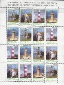 Equatorial Guinea, SW2168-2171, MNH, 2003, Lighthouses