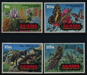 Zambia 86-9 MNH Conservation Year, Flowers, Butterfly, Insects, Bees