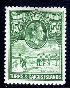 TURKS & CAICOS-,,,1938-45...SG 204a-    ..5/-   MM        cv £55